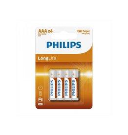 Philips Philips Longlife batterijen AAA 4 stuks in blister