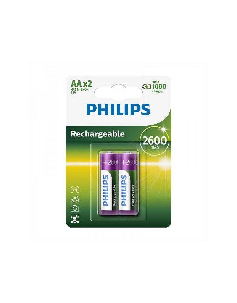 Proplus Philips batterijen AA 2600 mAh 2 stuks in blister