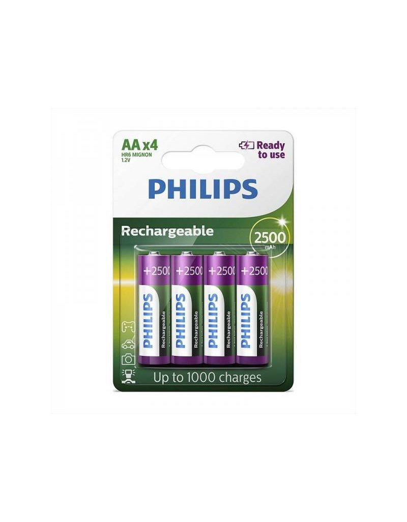 Proplus Philips batterijen AA 2500 mAh Ready To Use 4 stuks in blister