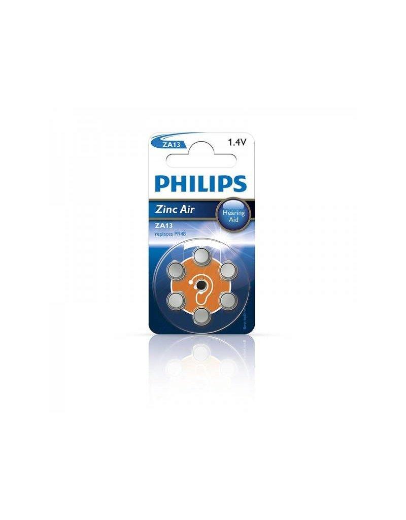 Proplus Philips Zinc batterijen 1.4V 6 stuks in blister (gehoorapparaat) oranje