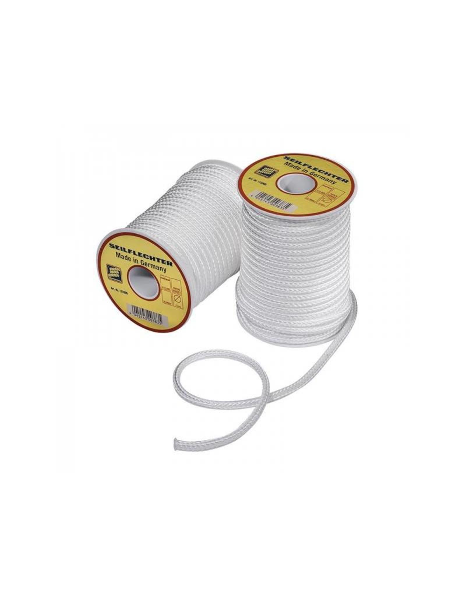 Fibron koord, gevlochten, 5mm, 20m op een spoel, wit, 410 daN