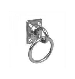 Dekoog met wartel en ring, 33x38x6mm, RVS AISI 316, 4 gaats