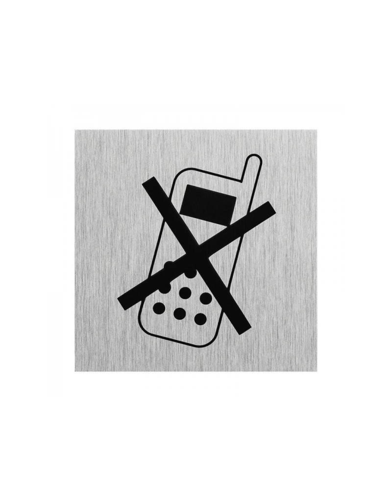 """Aluminium deurbordje """" pictogram telefoon uitschakelen """" 60x60mm"""