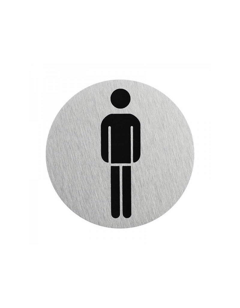"""Aluminium deurbordje """" pictogram heren WC """" ?75mm"""