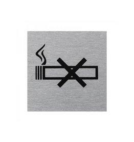 """Proplus Aluminium deurbordje """" pictogram roken verboden """" 60x60mm"""