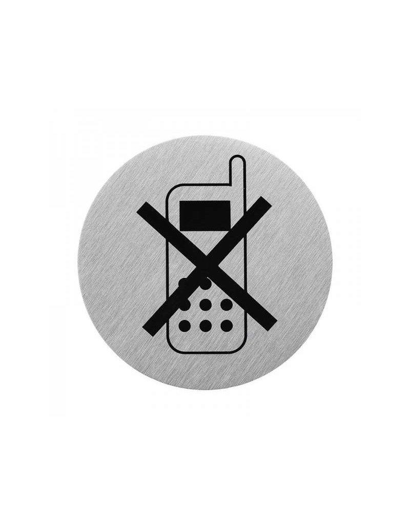 """Proplus Aluminium deurbordje """" pictogram telefoon uitschakelen """" ø75mm"""