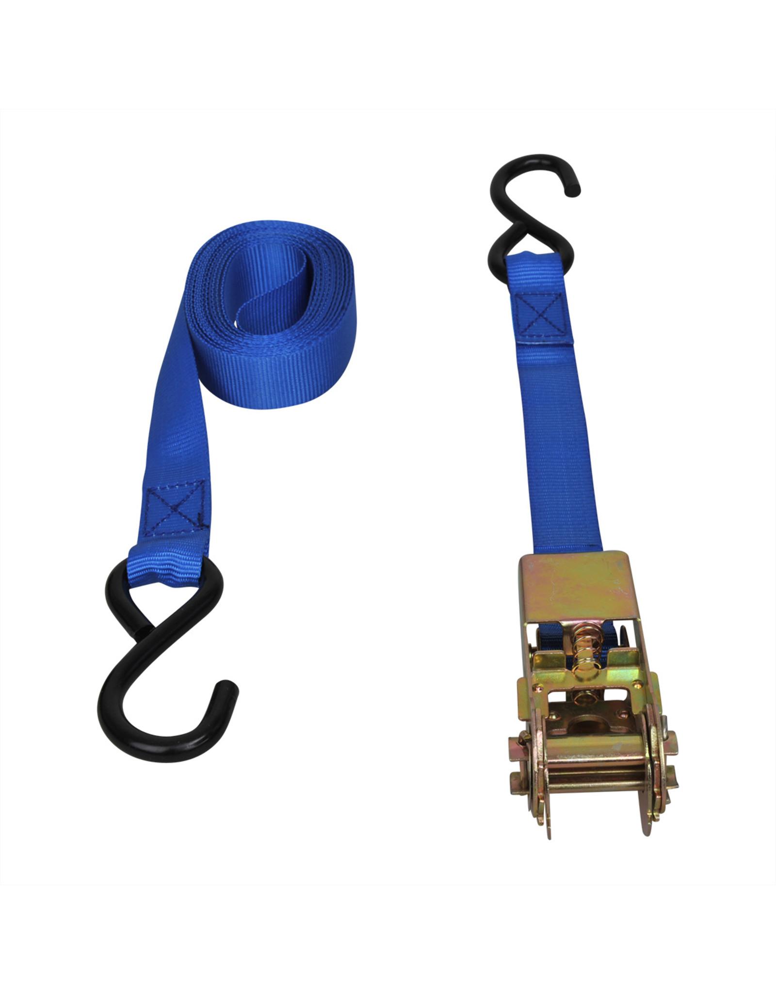 Spanband blauw met ratel + 2 haken 3,5 meter