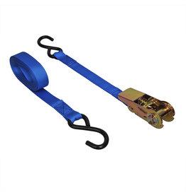 Spanband blauw met ratel + 2 haken 5 meter