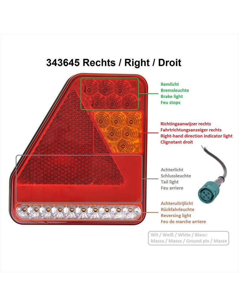 Achterlicht 5 functies 208x188mm 22LED rechts