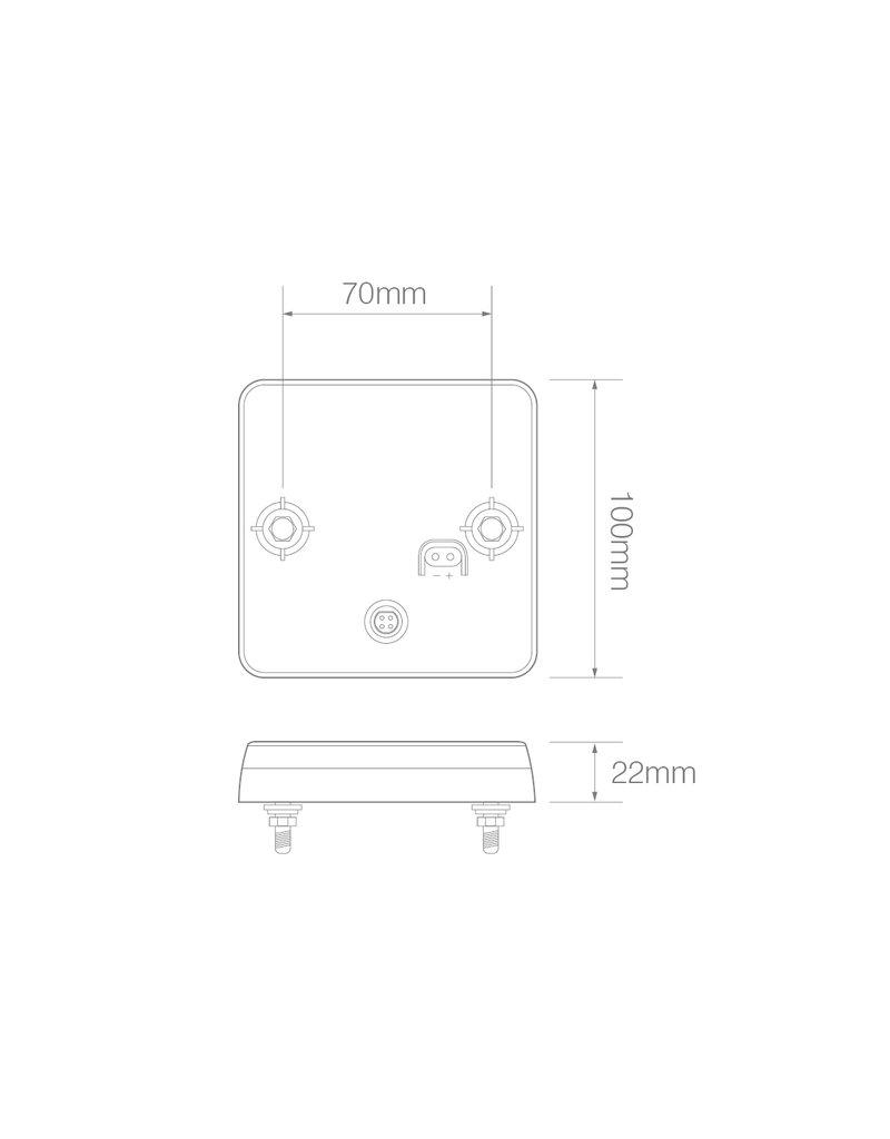 Achterlicht 12/24V 4 functies 100x100mm LED