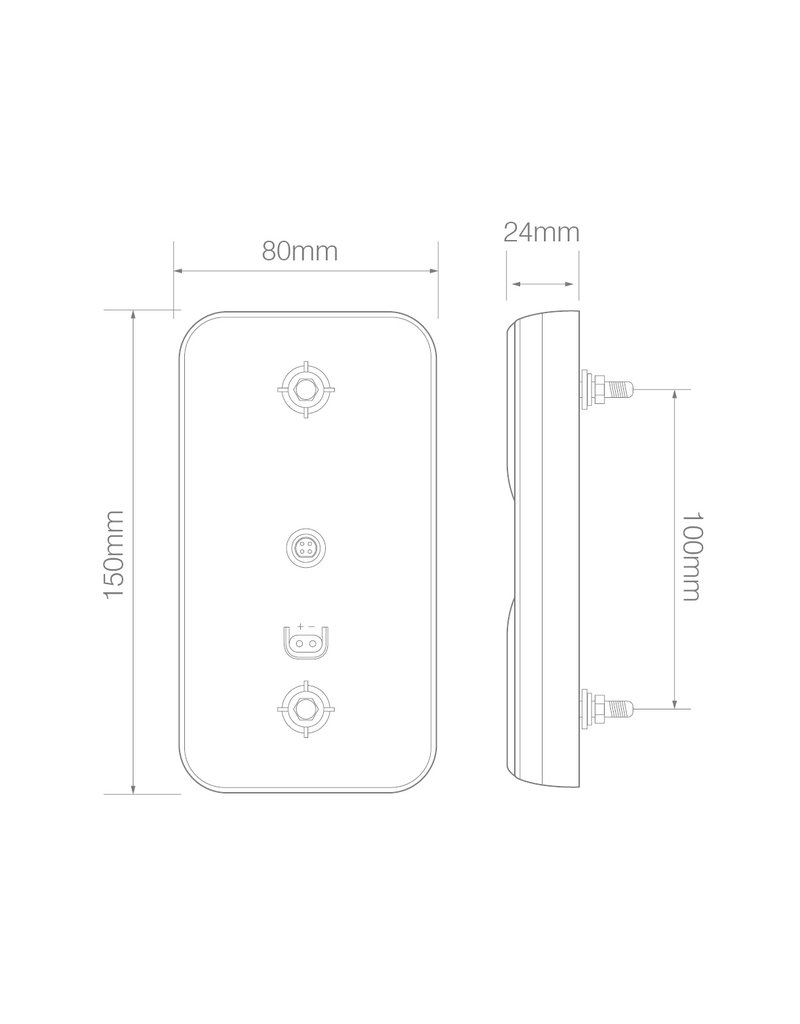 Achterlicht 12/24V 4 functies 80x150mm LED