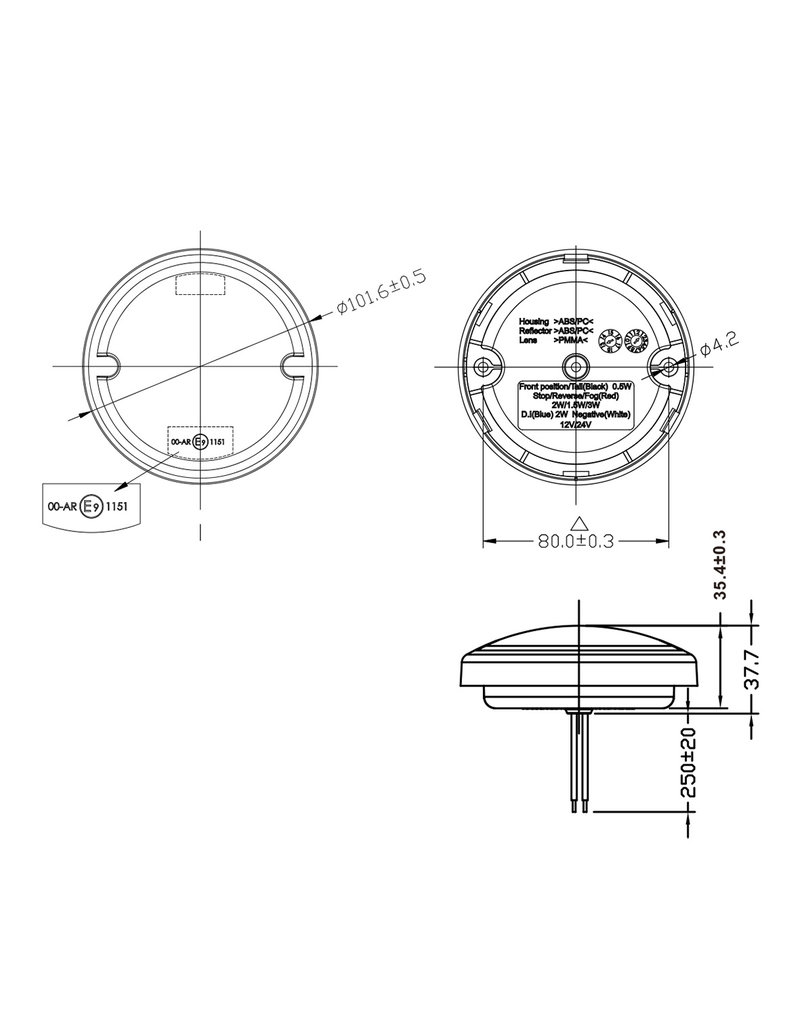 Achterlicht 3 functies 95mm 17LED chroom