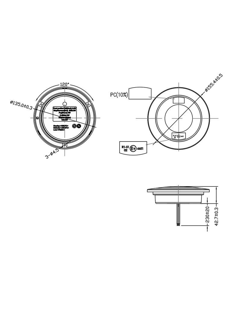 Achterlicht 3 functies 122mm 24LED chroom
