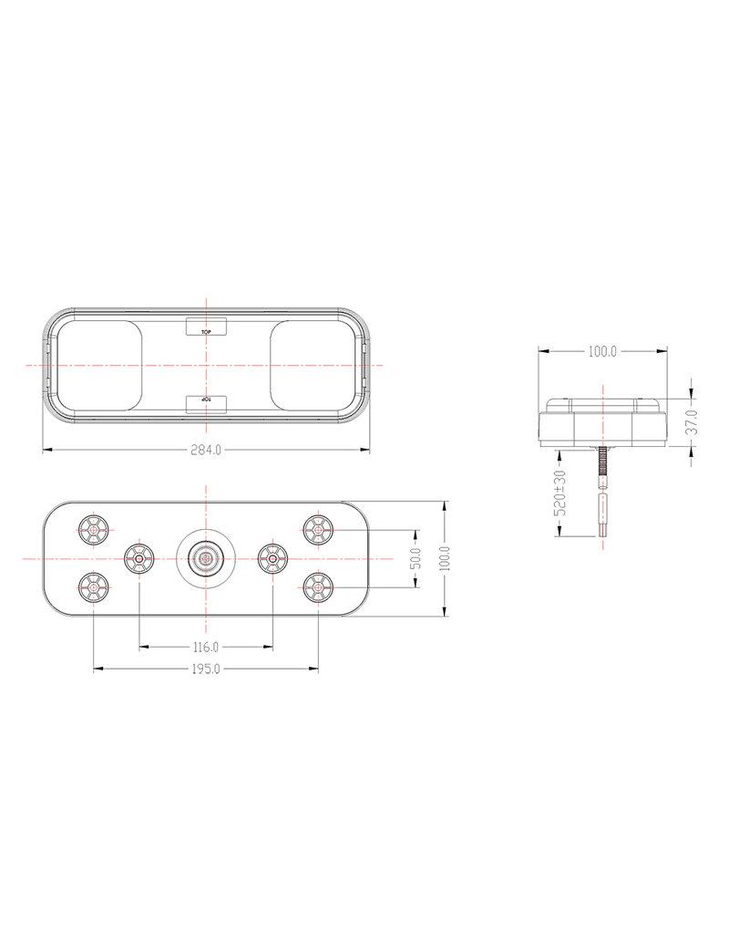 Proplus Achterlicht 5 functies 284x100mm 36LED