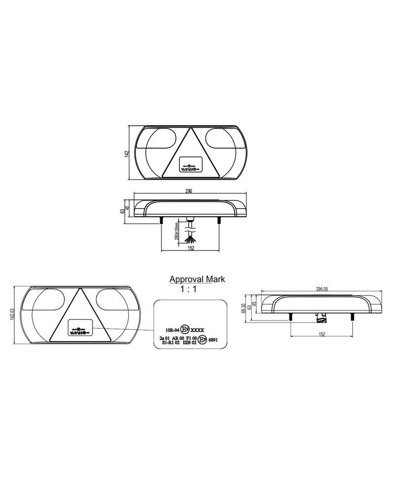 Proplus Achterlicht 6 functies 296x142mm 32LED rechts