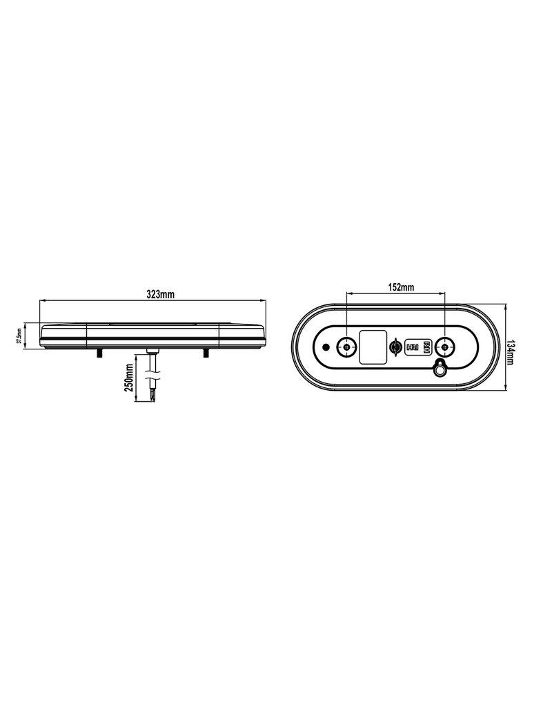 Proplus Achterlicht 6 functies 323x134mm 54LED rechts