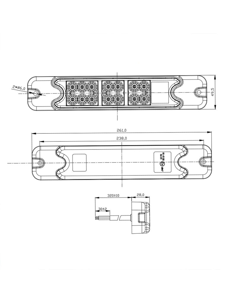Proplus Achterlicht 4 functies 192x51mm 18LED