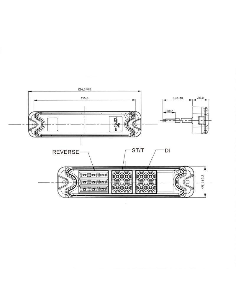 Proplus Achterlicht 5 functies 192x51mm 21LED
