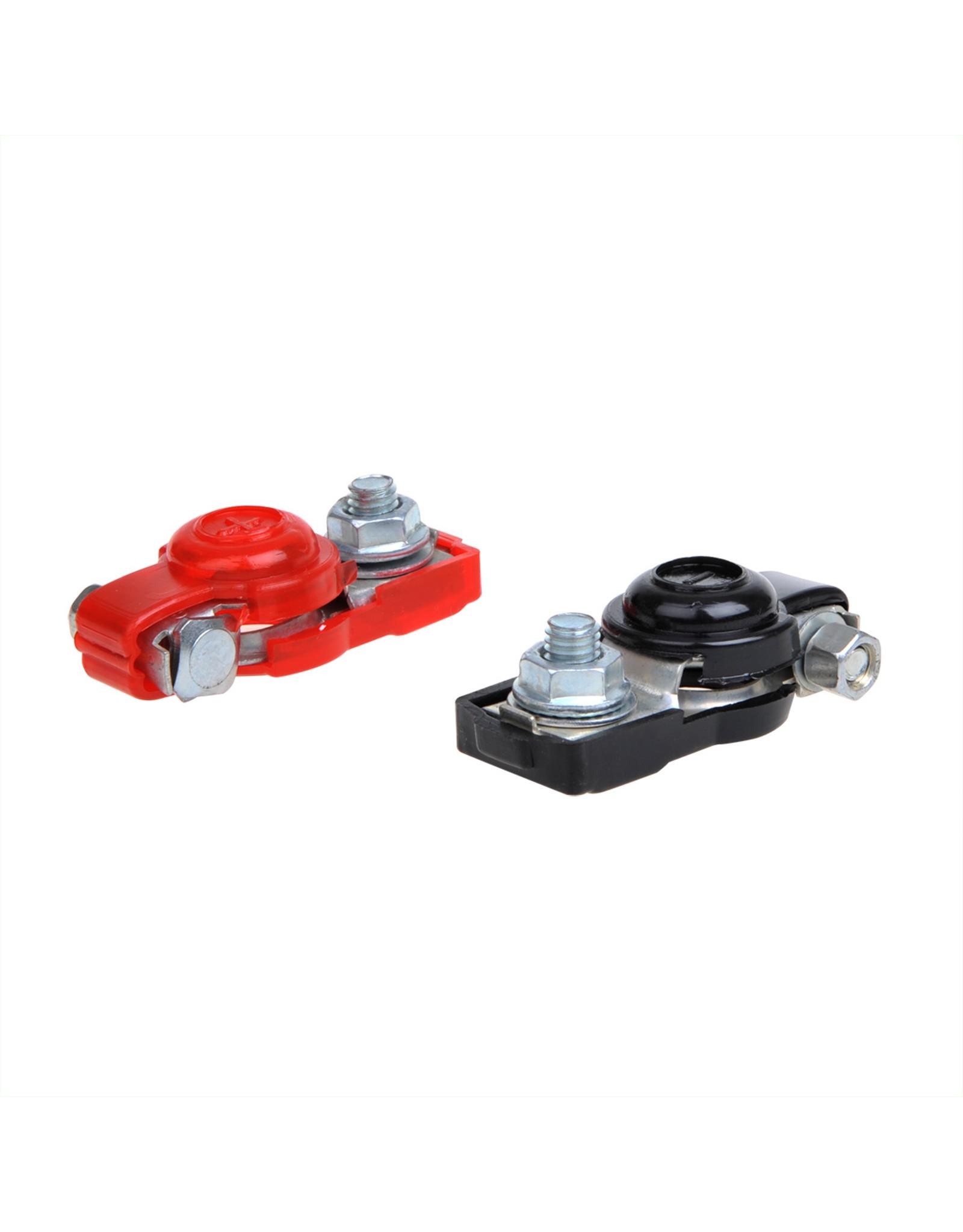 Accupoolklemmen set (+) en (-) met kunststof bescherming rood/zwart