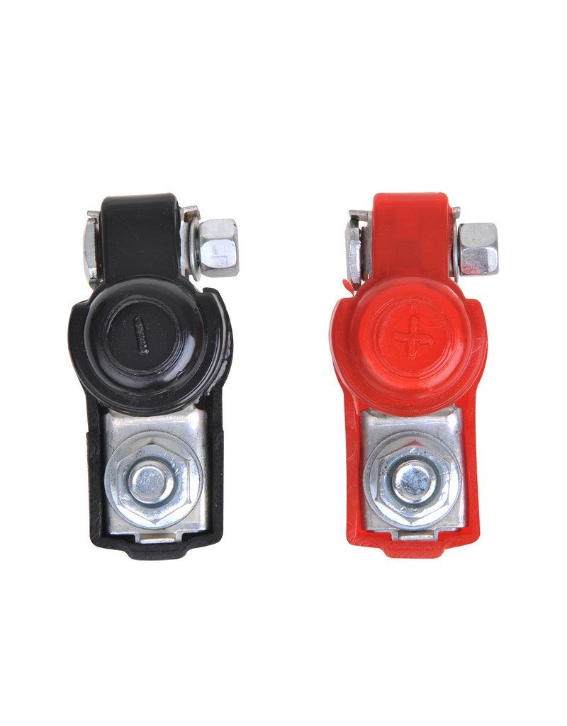 Proplus Accupoolklemmen set (+) en (-) met kunststof bescherming rood/zwart