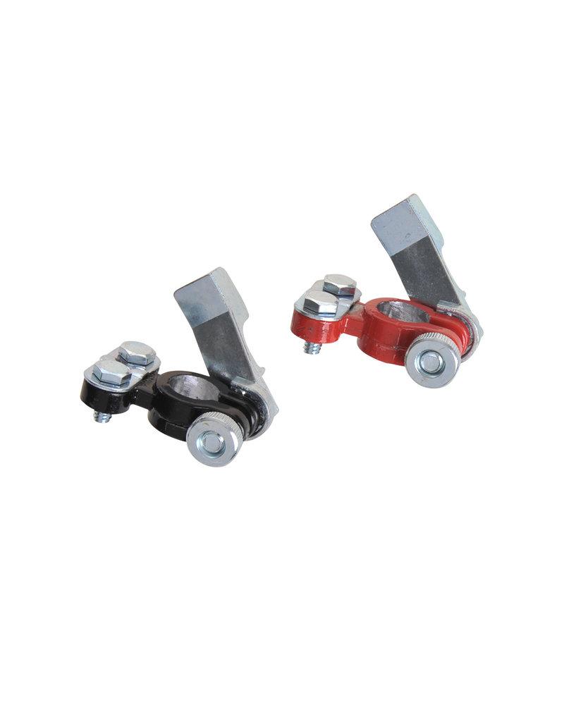 Accupoolklemmen set (+) en (-) met snelsluiting rood/zwart