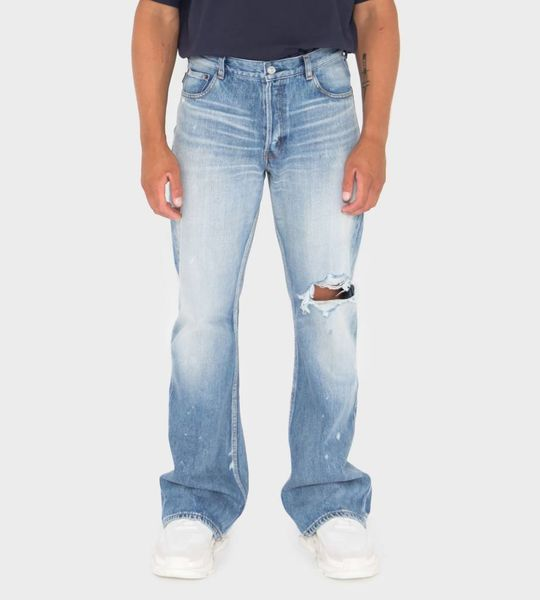 Wide Distressed Jeans Blue
