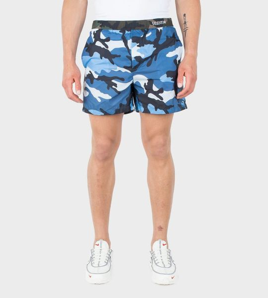 Blue Camouflage Print Swim Shorts