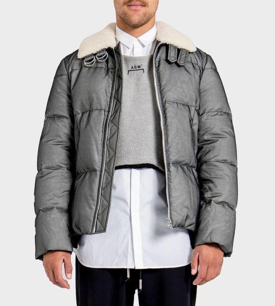 Silk Organza Band Zip Puffer Jacket