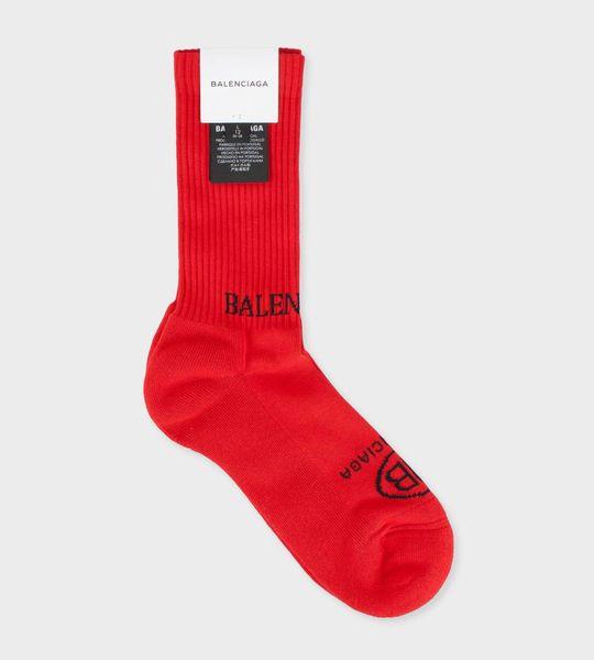 Logo Print Socks Red