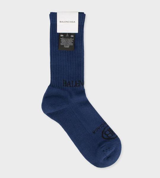 Logo Print Socks Blue