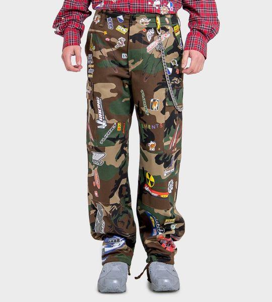 Green Camo Sticker Cargo Pants