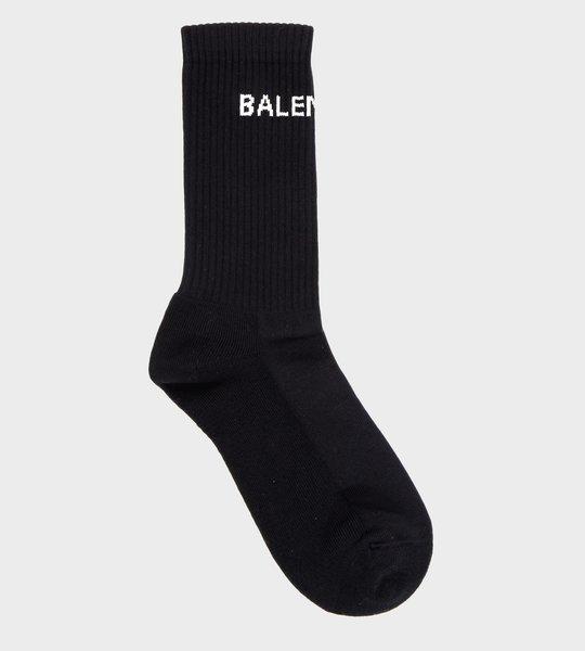 Logo Print Socks  Black