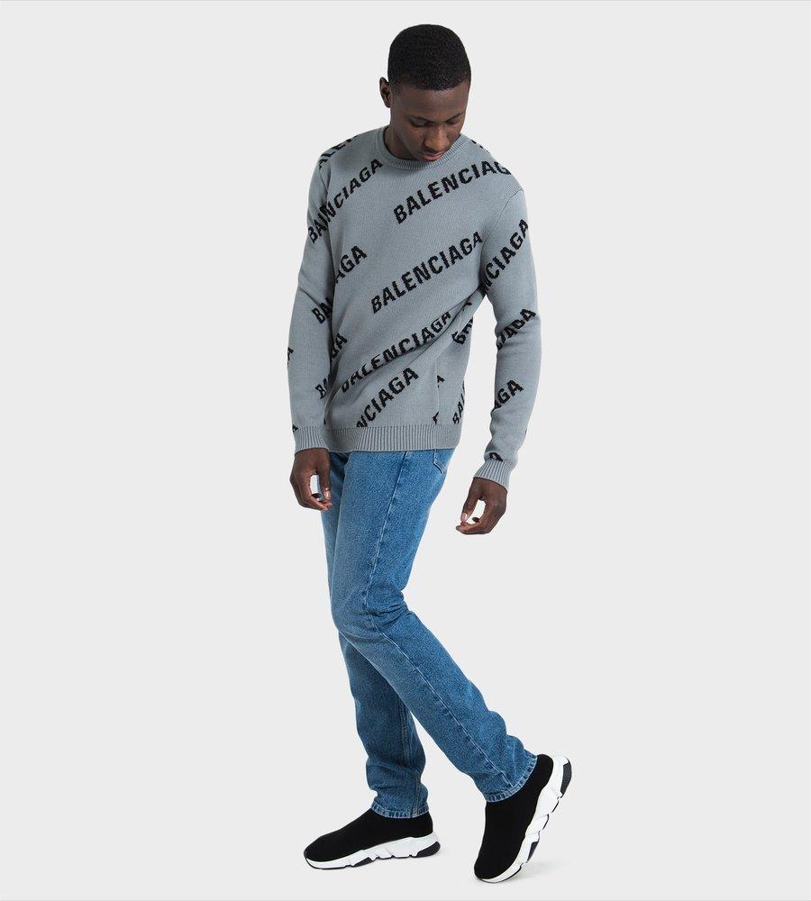 9600b93870d BALENCIAGA All-Over logo print Sweater