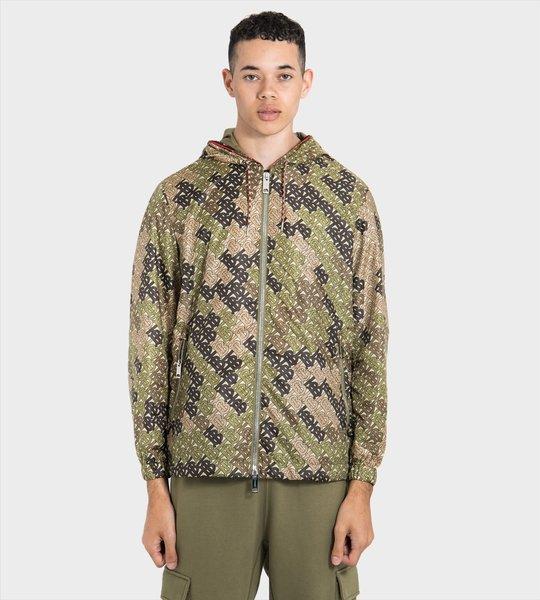 Monogram Print Nylon Hooded Jacket
