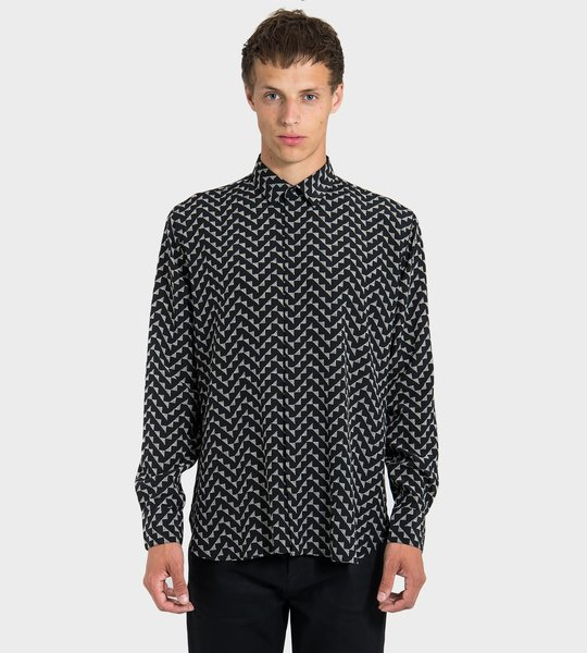 Silk Graphic Print Shirt