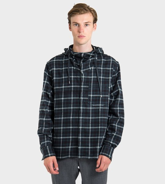 Checked Hooded Shirt