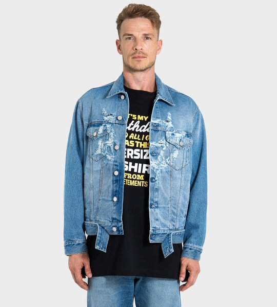 Distressed Logo Denim Jacket