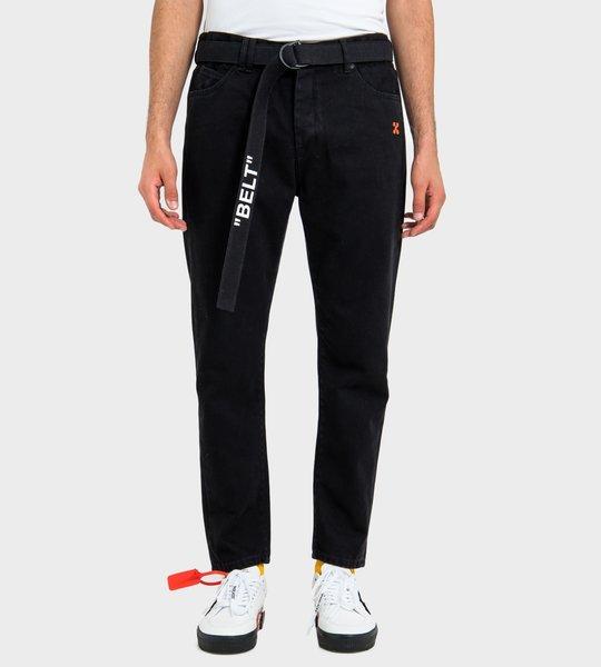 Cropped ''Belt'' Jeans