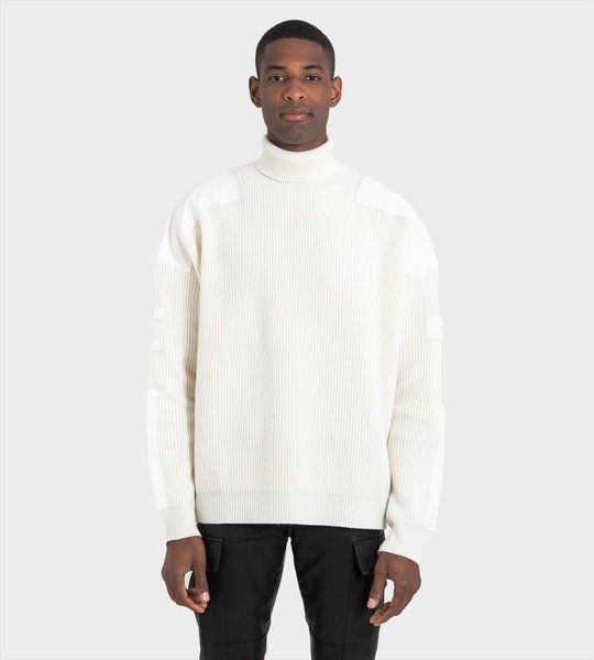 Appliquéd Oversized Turtleneck Sweater