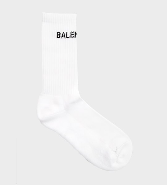 White Logo Print Socks