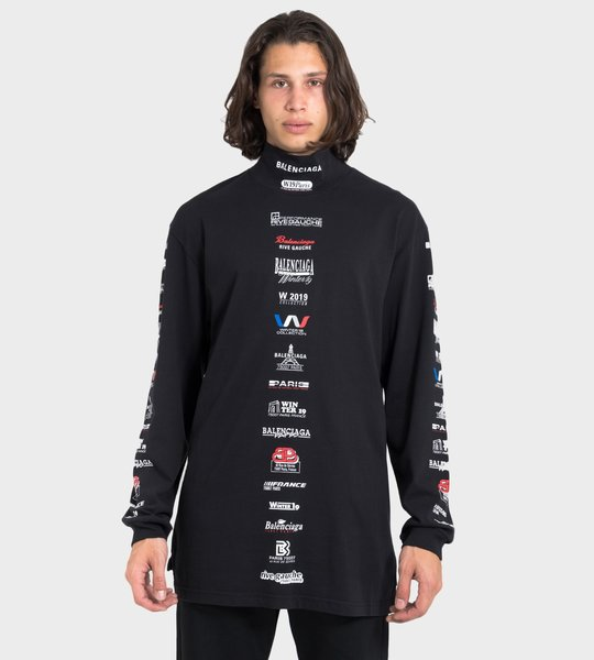 Multi Logo List Highneck T-shirt