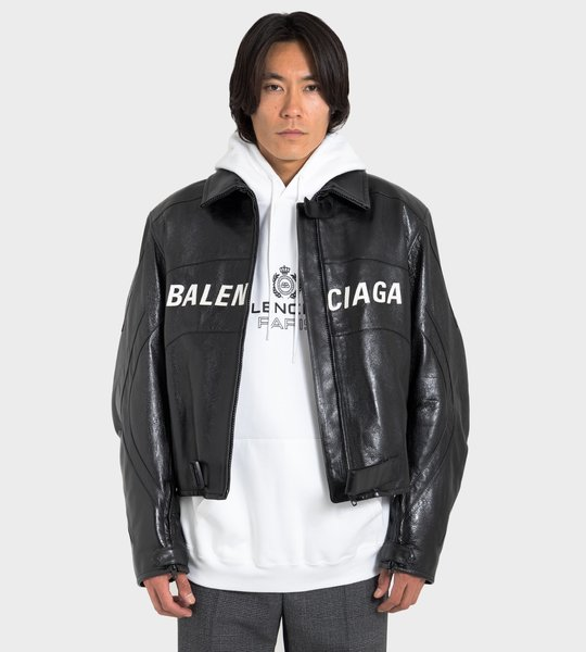 Logo Leather Moto Jacket