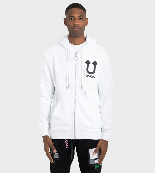 White Skeleton Rvrs Zipped Hoodie