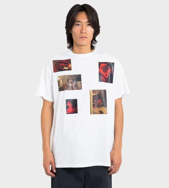 White Blue Velvet Printed T-Shirt