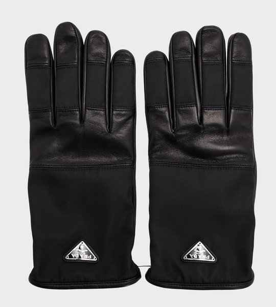 Nylon and Leather Logo Gloves