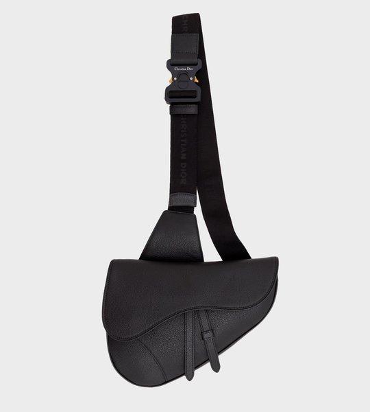 Saddle Bag In Black Calfskin