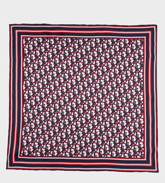 Tricolor Dior Oblique Selvedge Silk Twill Bandana