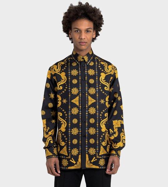 Barocco Western Print Silk Twill Shirt