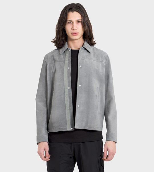 Gray Split Calfskin Overshirt