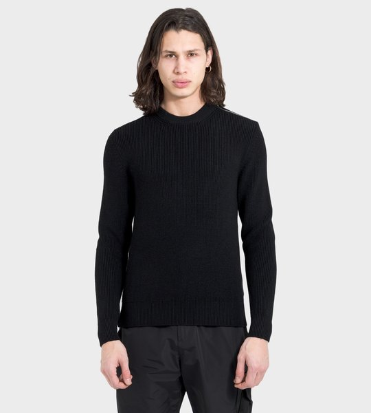 Black Shoulder Zip Ribbed Knit Wool Sweater